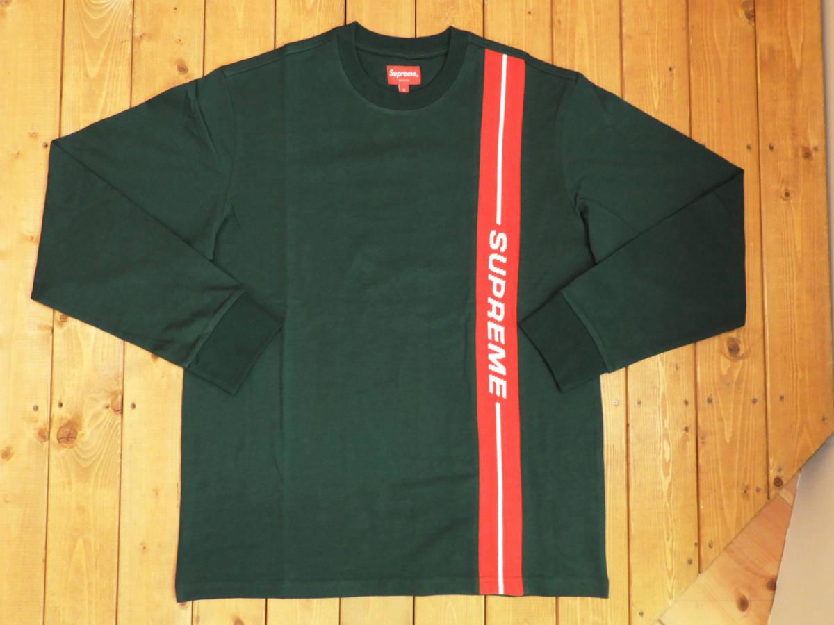 【未使用品】SUPREME/シュプリーム18SS 18FW vertical logo stripe L/S top Dark Green Sヴァーティカル ロゴ ストライプ ロングスリーブ ダークグリーン長袖 Tシャツ