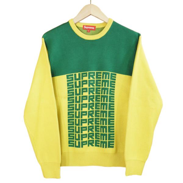 Supreme / シュプリーム18FW Logo Repeat Sweater サイズSGreen Yellow / グリーン イエローロゴ リピート スウェット