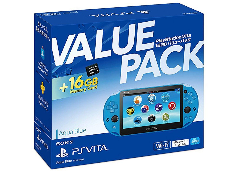【未使用品】SONY PlayStation Vita Aqua Blue Wi-Fiモデル 16GB Value Pack PCH-10033 【店舗印有り:保証書日付 2018年04月05日】