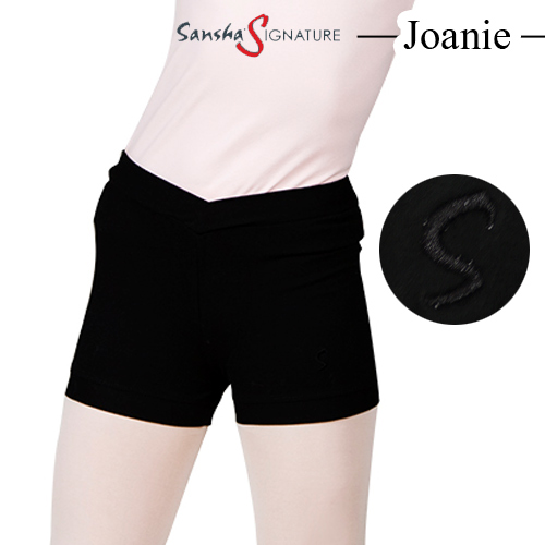サイズ交換OK バレエに最適な体にフィットするショートパンツ 有名メーカーなので高品質です 国際ブランド ロゴ刺繍のワンポイントがとっても可愛い 動きやすいデザイン 商品番号 Y0655C ショートパンツ ウエストV メール便送料無料 SEAL限定商品 Joanie 子ども Sansha こども サンシャ バレエ用品 ウォームアップ