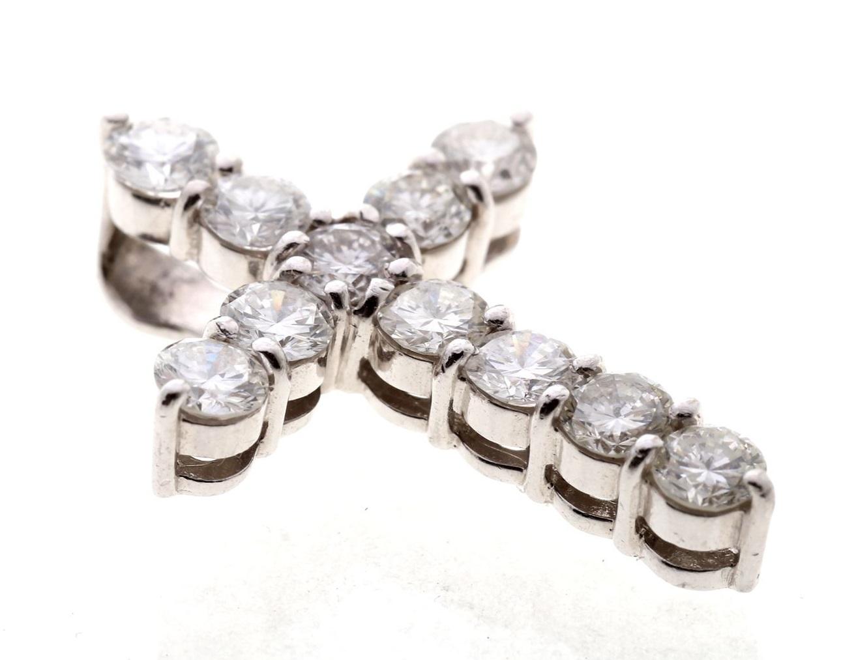 クロス ダイヤモンド プラチナ ペンダントトップ ダイヤ2.21ct 11石 新品同様品 送料無料 【トレジャースポット】【中古】
