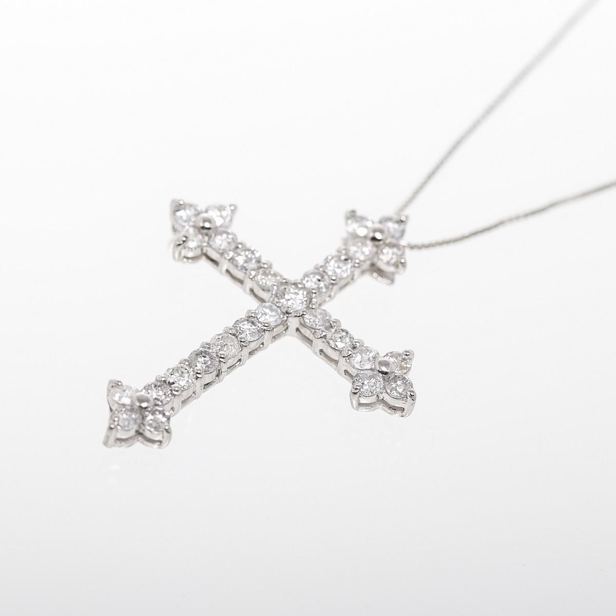 ダイヤモンド ネックレス クロス ペンダント D2 0ct Pt900 プラチナトレジャースポット08kNwPnXO
