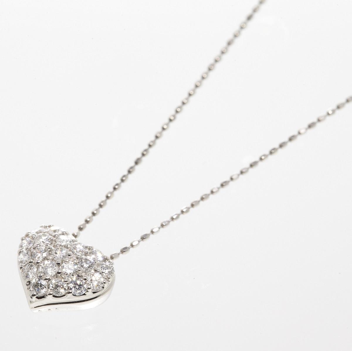 ダイヤモンド ネックレス ハートデザイン Dトータル0.50ct K18WG ホワイトゴールド 【トレジャースポット】【中古】