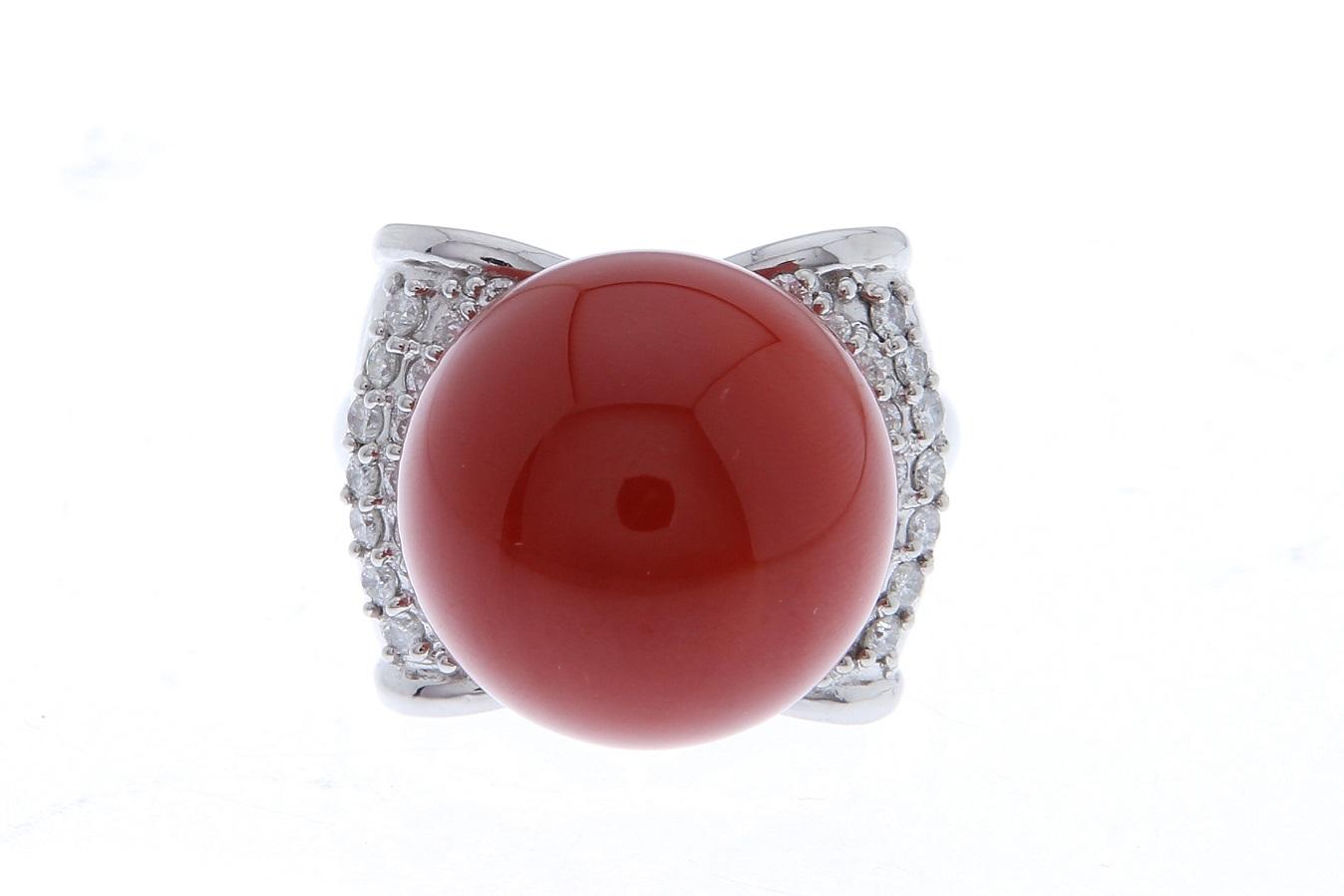 珊瑚 プラチナリング 指輪 Pt900 サンゴ15.59mm D0.53ct サイズ調整無料 送料無料 【トレジャースポット】【中古】