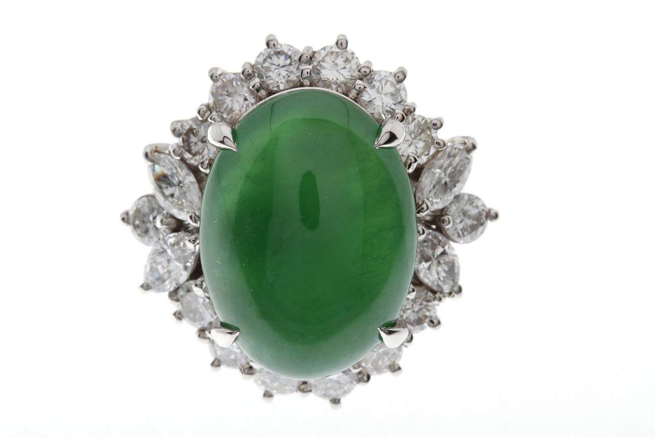 翡翠・ダイヤモンドリング 指輪 Pt900 ヒスイ6.33ct ダイヤ D2.054ct サイズ調整無料 送料無料 【トレジャースポット】【中古】