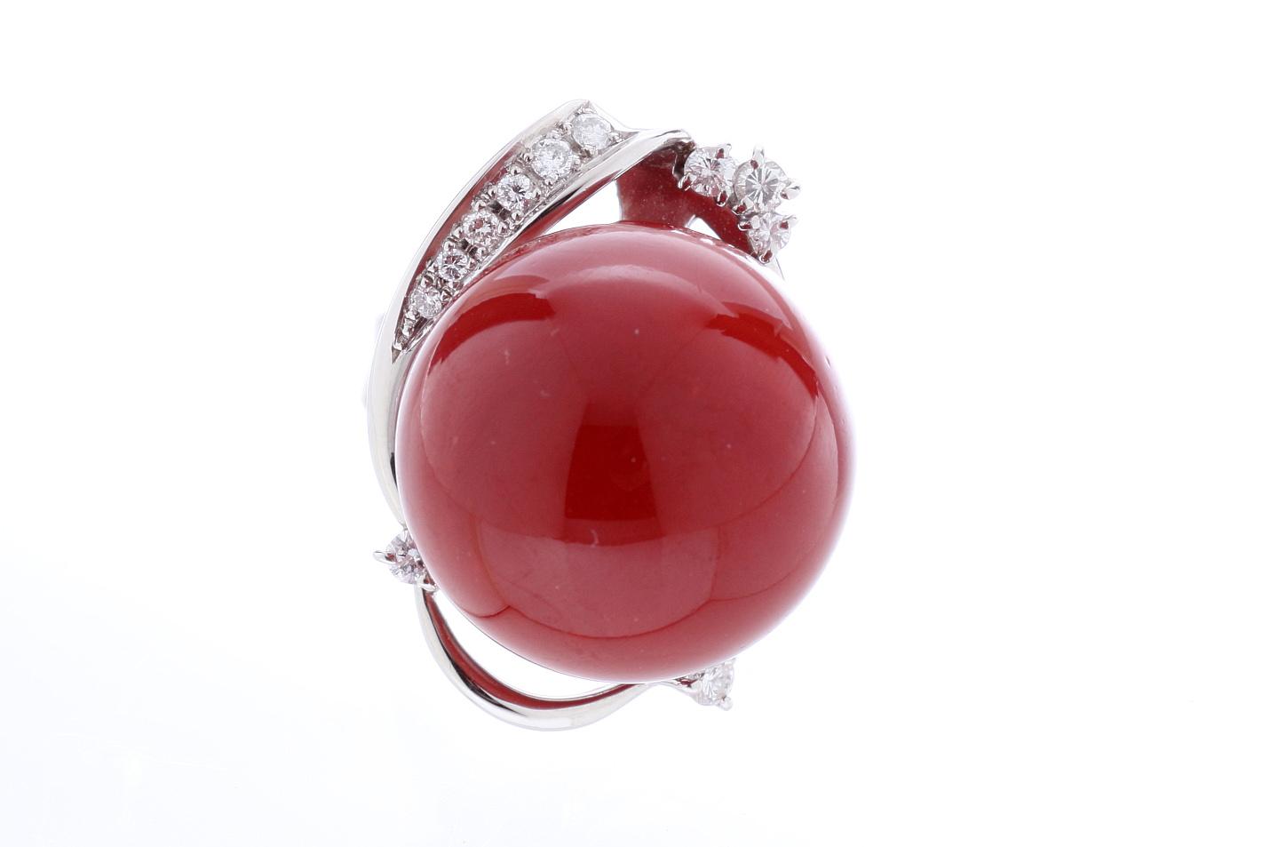 血赤珊瑚 プラチナダイアモンドリング 指輪 Pt900 日本産サンゴ19.3mm D0.31ct 新品 サイズ調整無料 送料無料 【トレジャースポット】