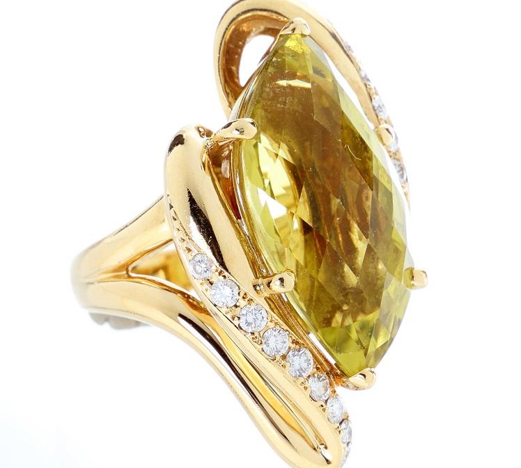 天然クォーツ リング K18 指輪 サイズ調整無料(5サイズまで) 送料無料 新品同様 美品 【トレジャースポット】【中古】