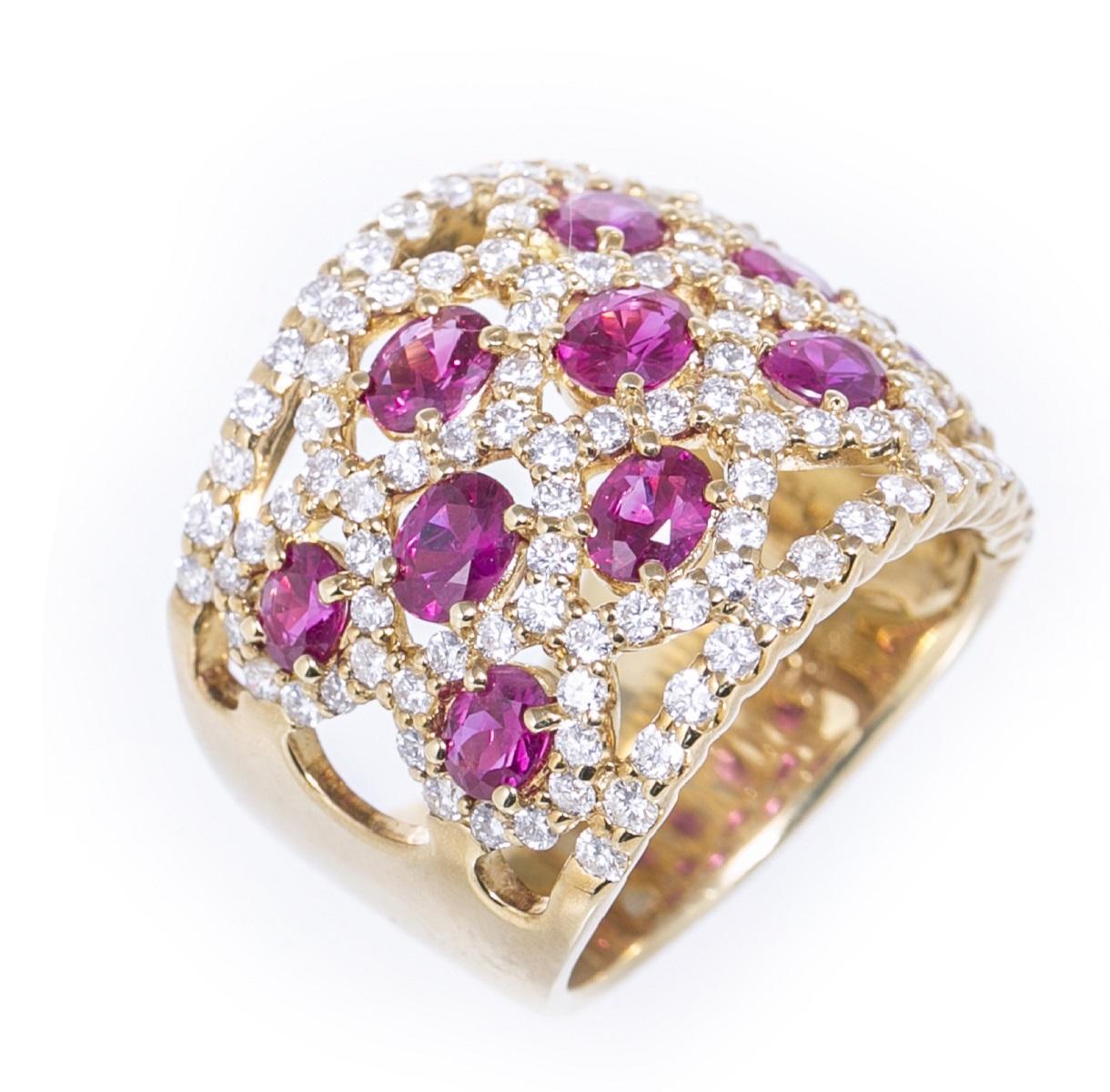 ルビー・ダイヤモンドリング 指輪 R2.67ct D1.70ct K18 #15 新品仕上げ済み 送料無料 【トレジャースポット】【中古】