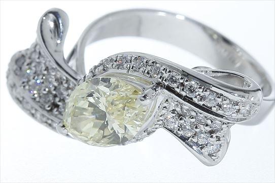 ダイヤモンド プラチナリング 指輪 ファンシーライトイエロー ダイヤ D1.856ct Pt900 サイズ調整5サイズまで無料  送料無料 未使用展示品 【トレジャースポット】【中古】
