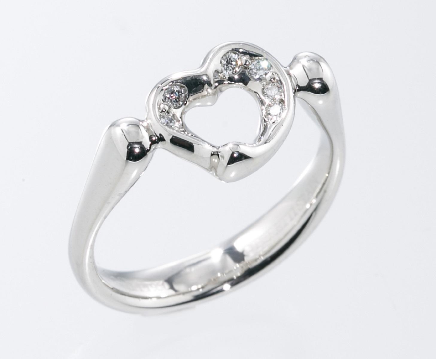 ティファニー Tiffany & Co. オープンハート ダイヤモンド リング 指輪 Pt950 プラチナ #8 【トレジャースポット】【中古】