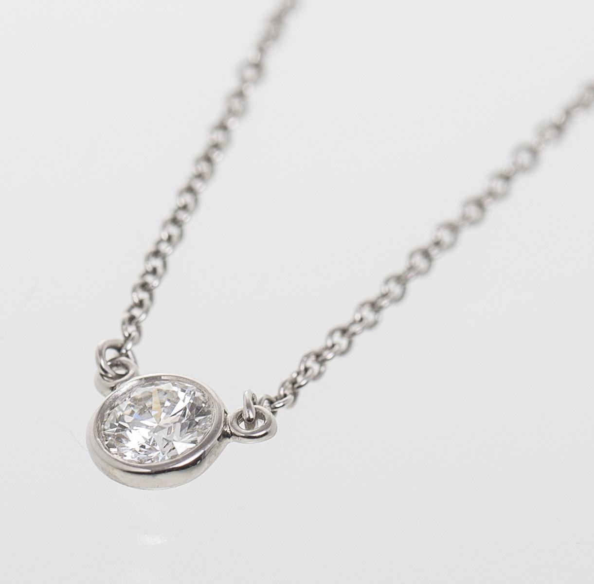 ティファニー Tiffany&Co バイザヤード ネックレス PT950 プラチナ ダイヤモンド 送料無料 【トレジャースポット】【中古】