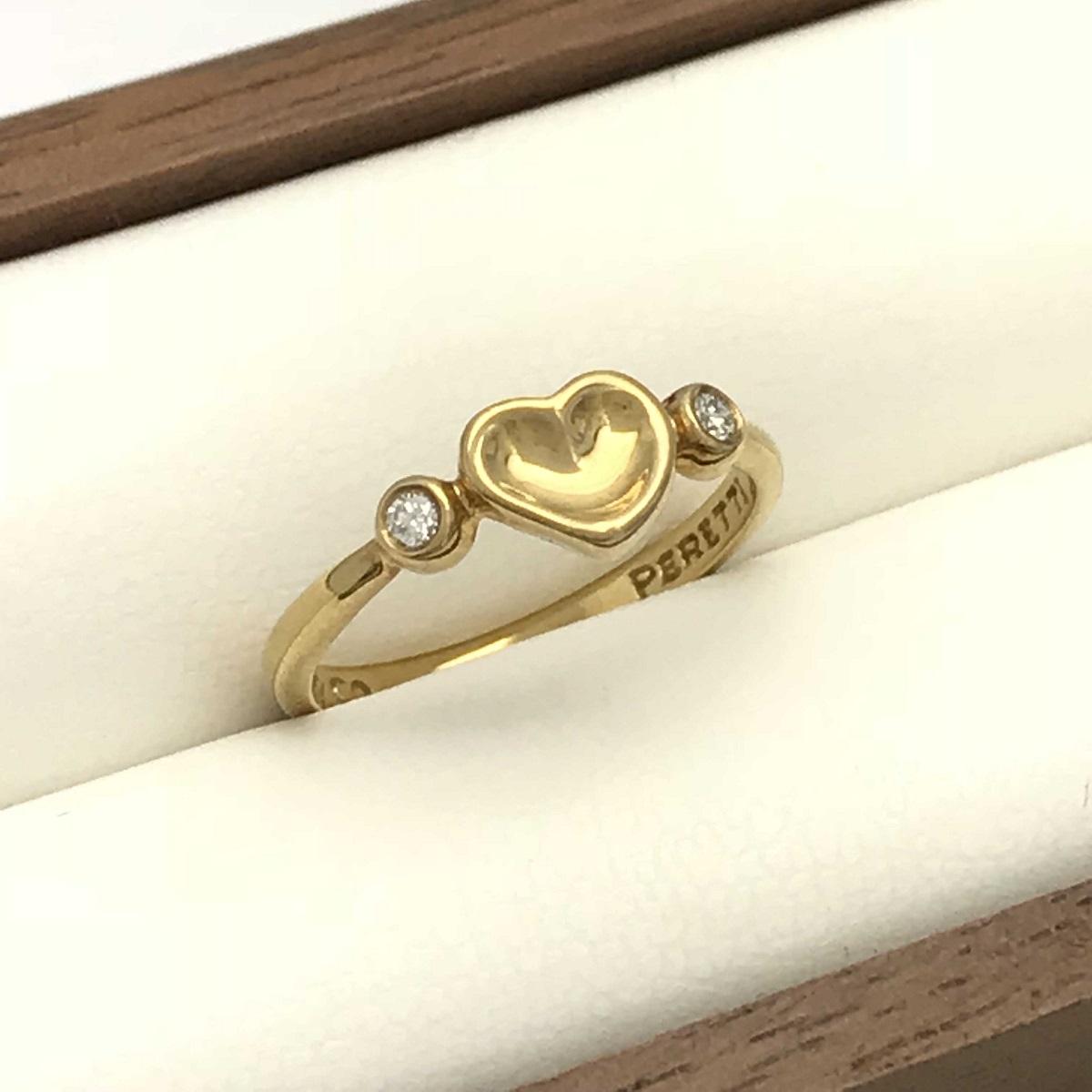 Tiffany & Co. ティファニー ハートダイヤリング 指輪 #10 750YG 【トレジャースポット】【中古】