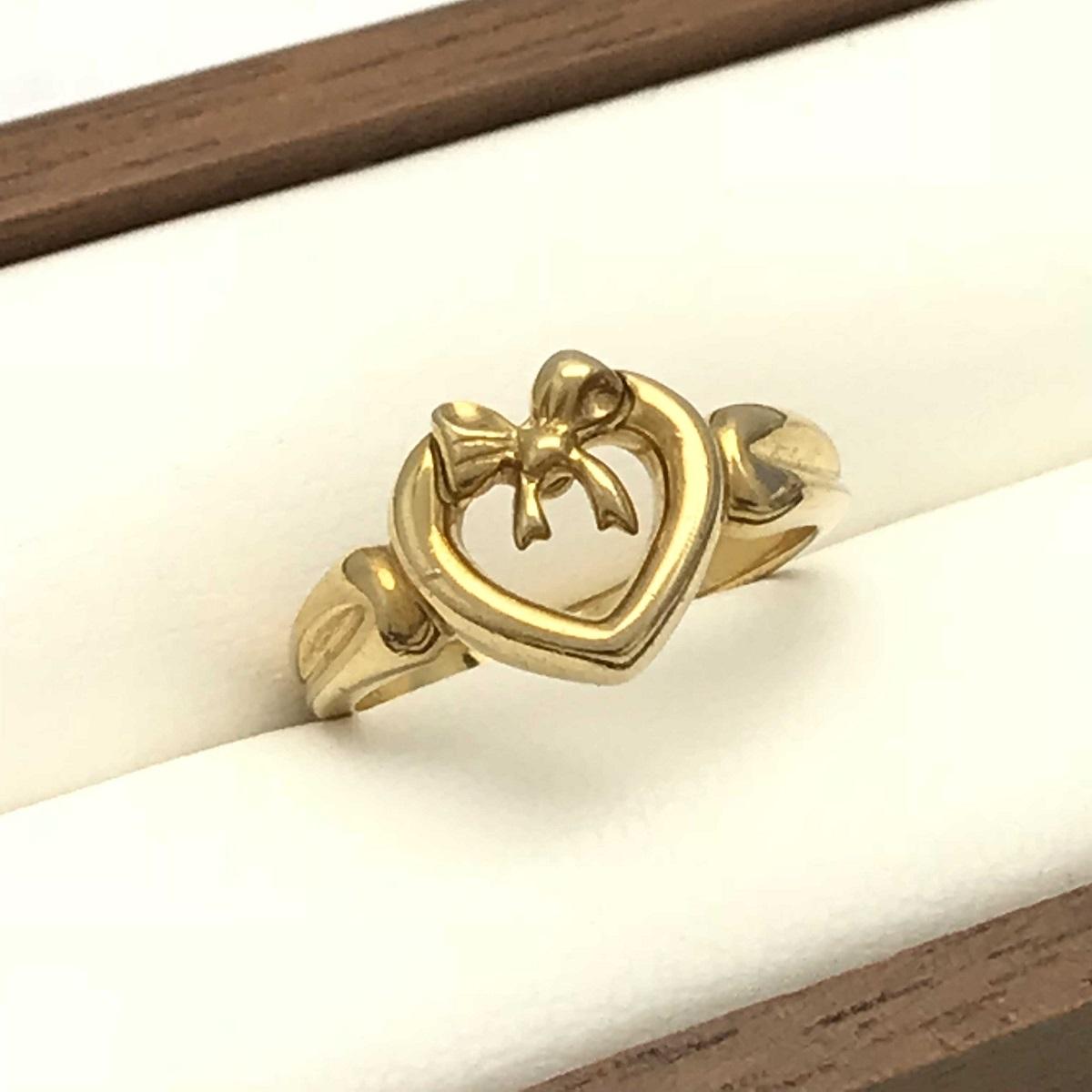 Tiffany & Co. ティファニー ハート ウィズ ボウ リング 指輪 ハート・リボンモチーフ #11.5 750YG 【トレジャースポット】【中古】