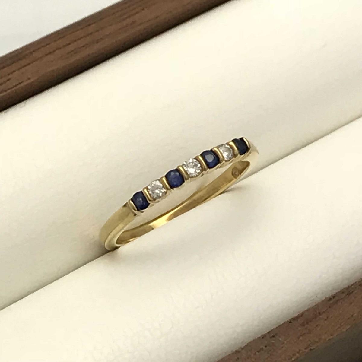 Tiffany & Co. ティファニー ダイヤ×サファイアリング 指輪 #10 750YG 【トレジャースポット】【中古】