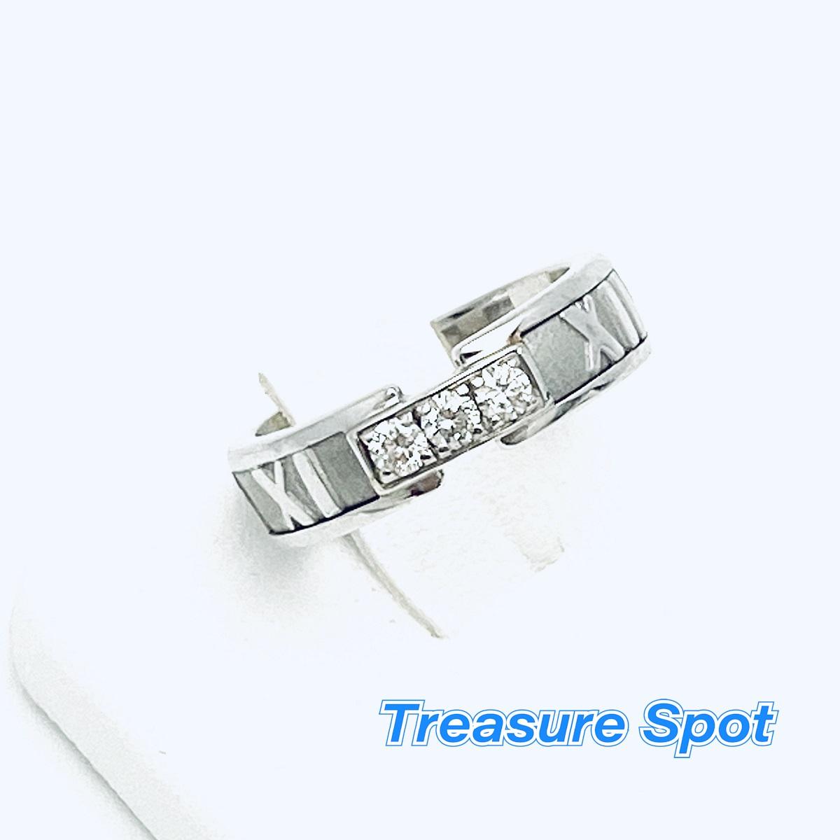 ティファニー Tiffany&Co. アトラス リング 指輪 750WG 3Pダイヤ #10 【トレジャースポット】【中古】