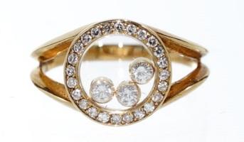 ショパール Chopard ハッピーダイアモンド ラウンドリング 指輪 イエローゴールド 送料無料 【トレジャースポット】【中古】
