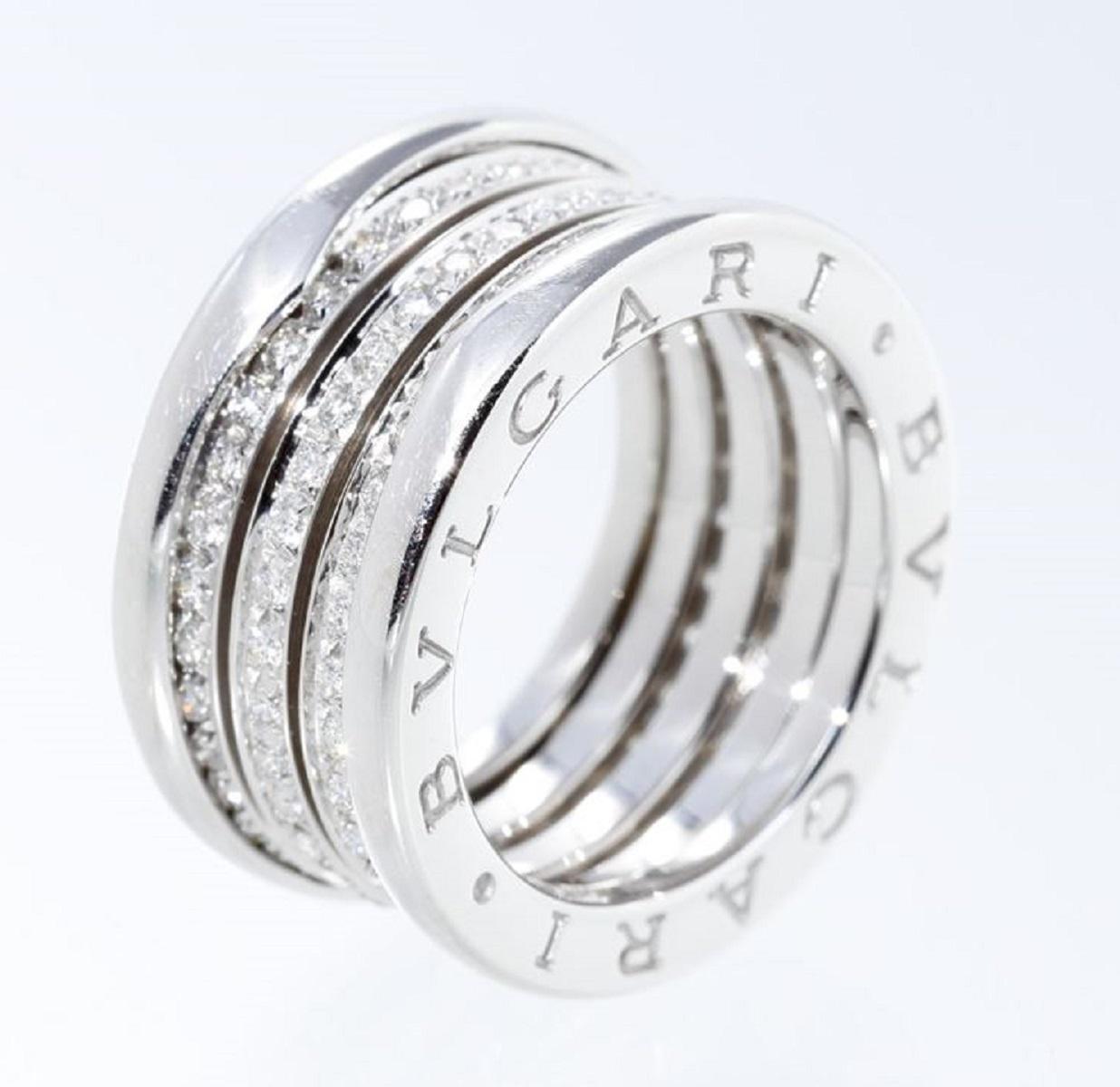 ブルガリ BVLGARI B-Zero1 フルダイヤリング 指輪 パヴェ 750WG ホワイトゴールド #52 11.5号 幅10.6 送料無料 【トレジャースポット】【中古】
