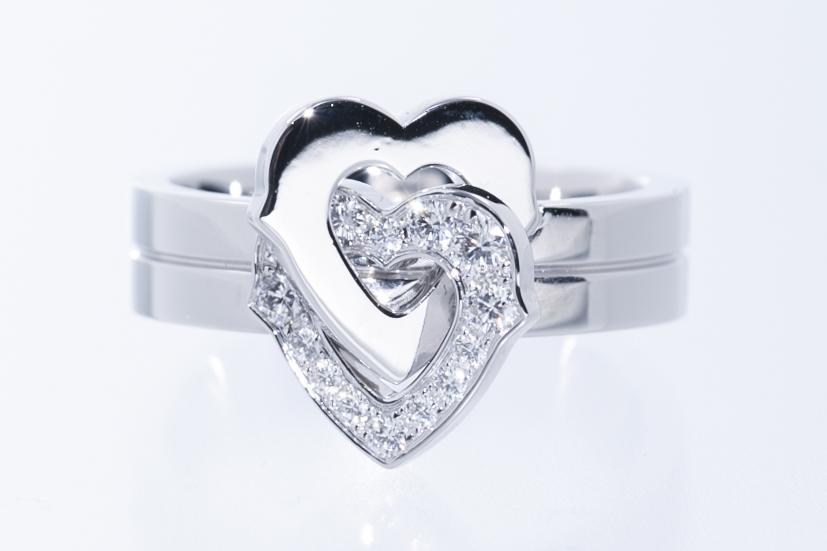 カルティエ Cartier 2ハートモチーフリング 指輪 750WG(ホワイトゴールド)サイズ49 カルティエ磨き済 美品 送料無料【トレジャースポット】【中古】