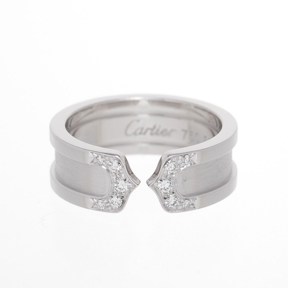 Cartier カルティエ C2ダイヤリング 指輪 750WG #50 新品同様品 送料無料 【トレジャースポット】【中古】