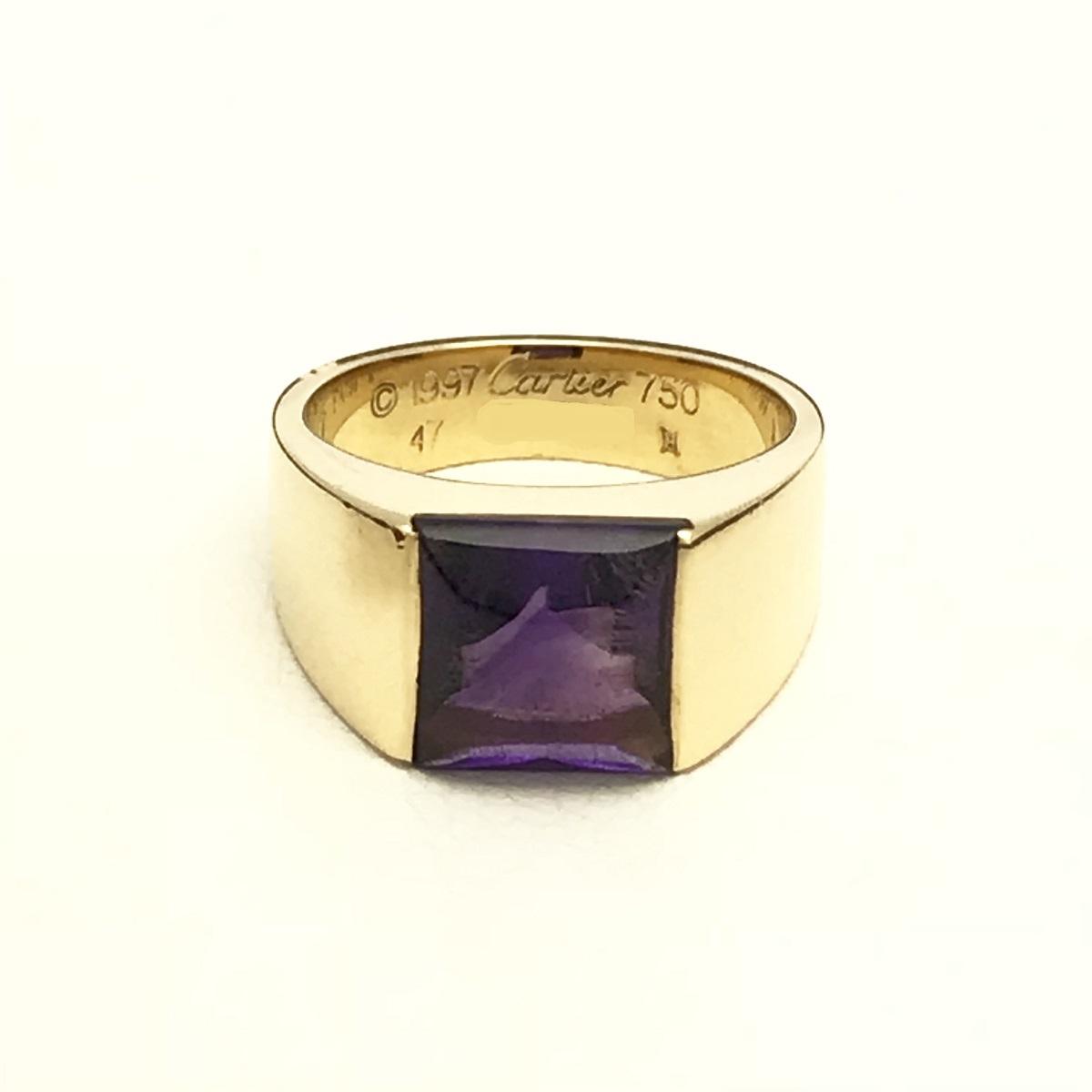 Cartier カルティエ タンクソロ リング 指輪 #47 750YG アメジスト 【トレジャースポット】【中古】