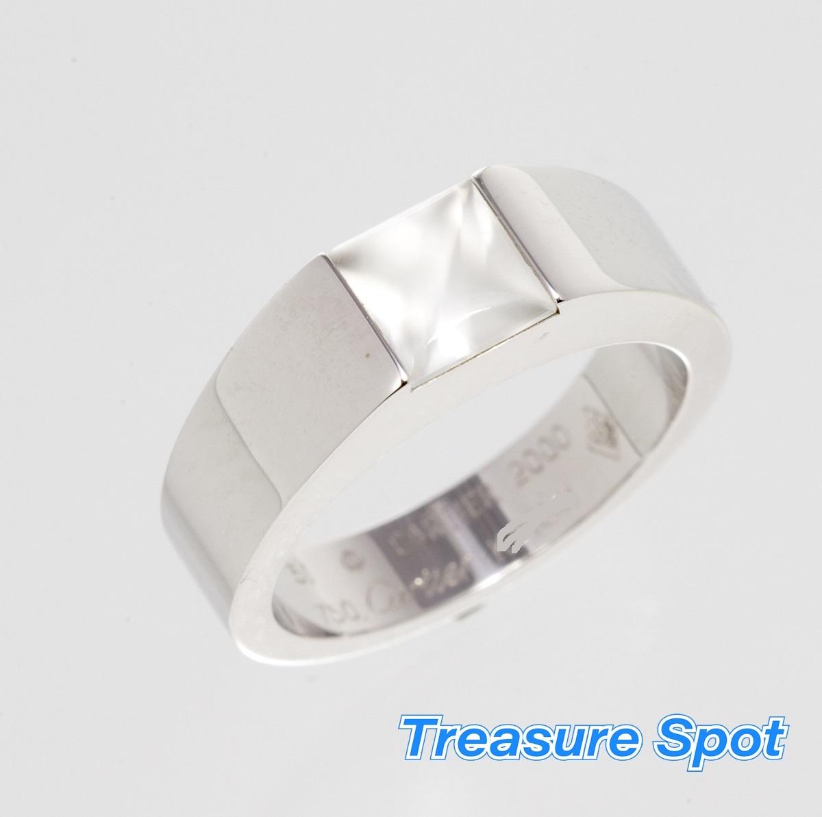 Cartier カルティエ タンクソロ リング 指輪 #51 750WG ムーンストーン 【トレジャースポット】【中古】