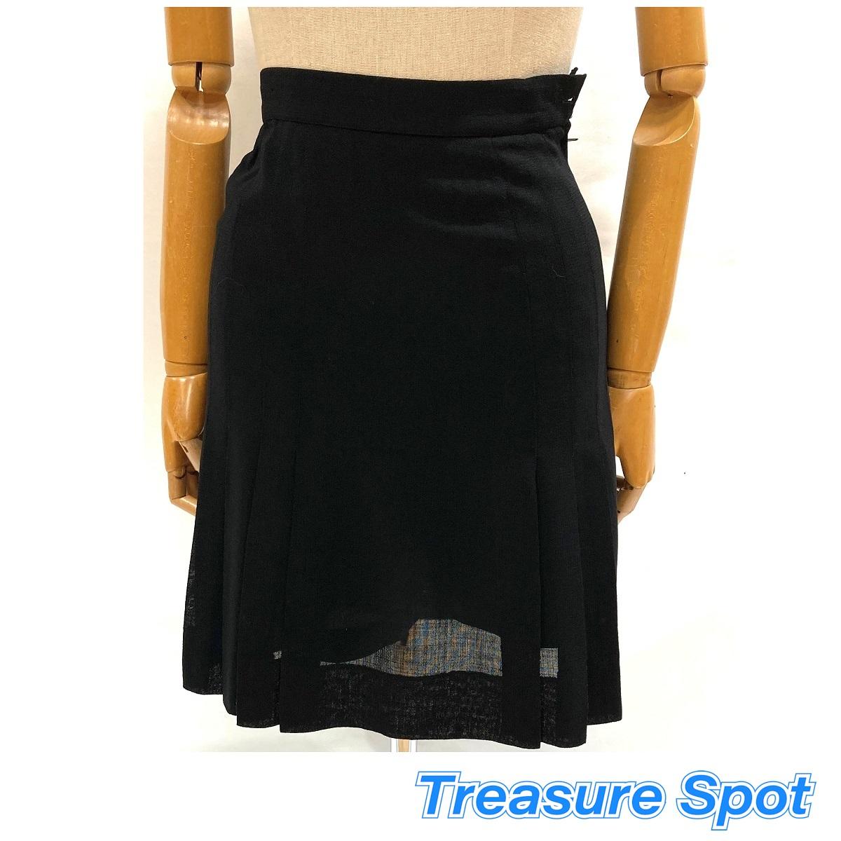 シャネル CHANEL 即納 ギャザースカート #40 トレジャースポット 希少 ブラック 中古 WOOL100%
