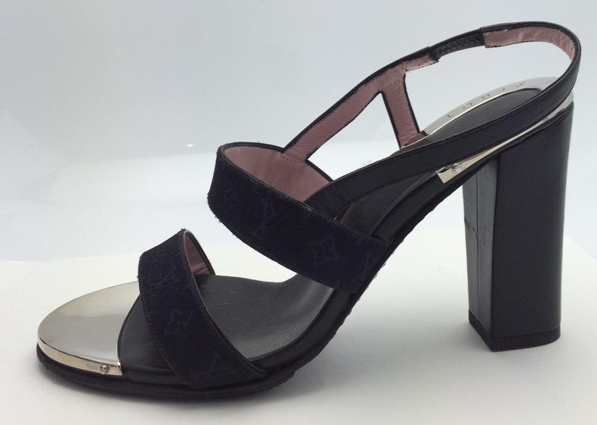 ルイ・ヴィトン LOUIS VUITTON LV サンダル サイズ36 モノグラムサテン ブラック レディース 靴【トレジャースポット】【中古】