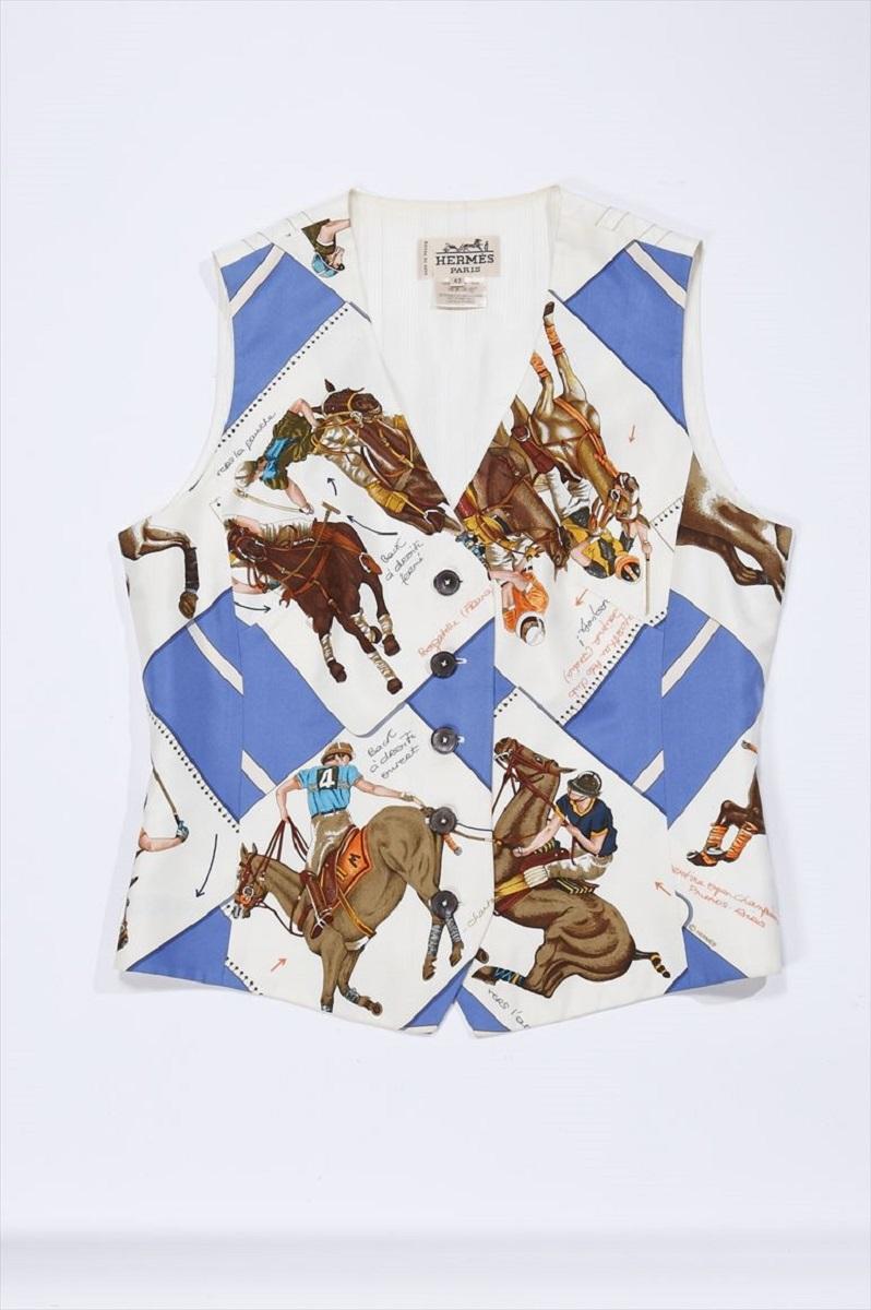 エルメス HERMES ジレ ベスト レディース ホワイト×ブルー #42 馬柄 シルク 【トレジャースポット】【中古】