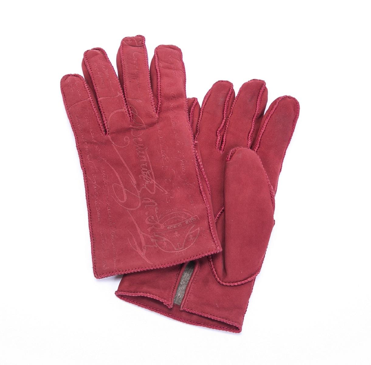 Berluti ベルルッティ 手袋 グローブ レッド 赤 スエード メンズ 紳士用 サイズ8 【トレジャースポット】【中古】
