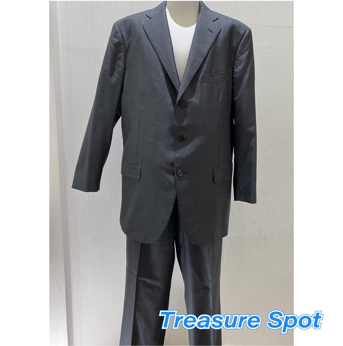 Belvest ベルベスト スーツ #54 XL グレー ウール シルク ジャケット パンツ 【トレジャースポット】【中古】