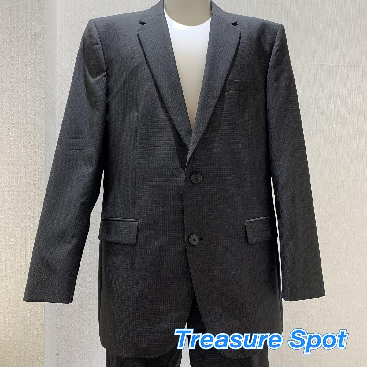 ヒューゴボス HUGO BOSS スーツ ジャケット パンツ チャコールグレー チェック ウール 【トレジャースポット】【中古】