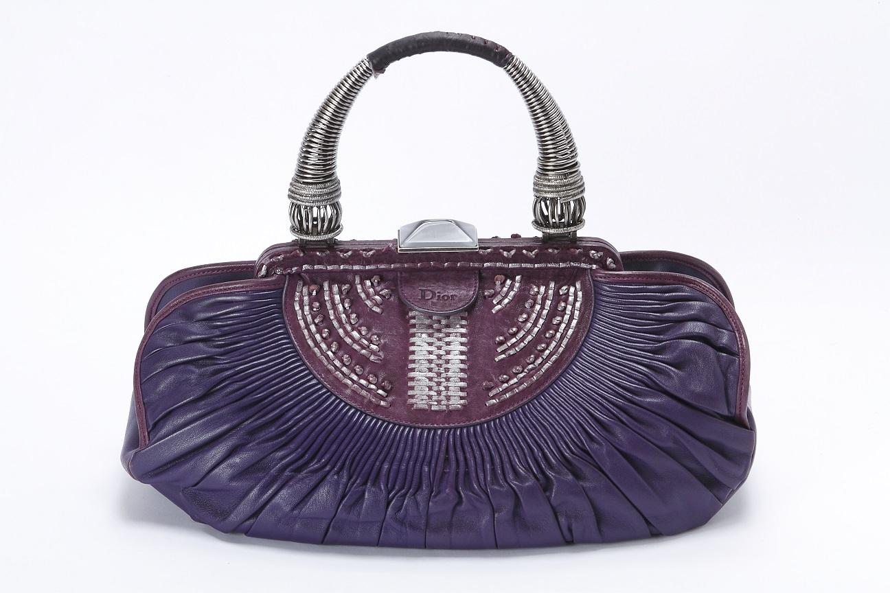 クリスチャン・ディオール Christian Dior デザインバッグ ハンドバッグ パープル 送料無料 【トレジャースポット】【中古】