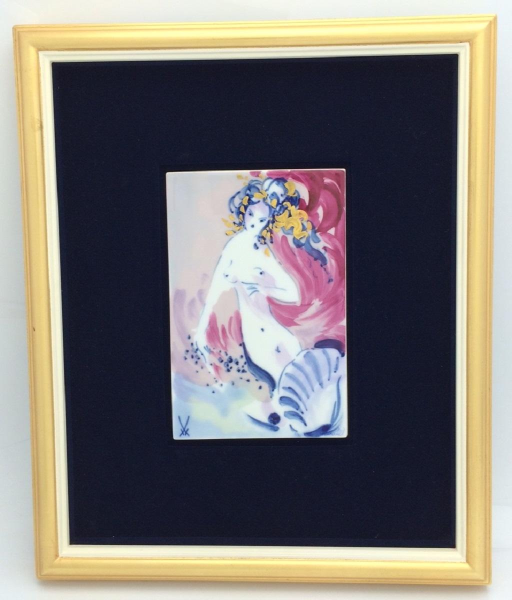 マイセン meissen ヴィーナス 陶板画  約10×15.5cm 額縁付き 送料無料【トレジャースポット】【中古】