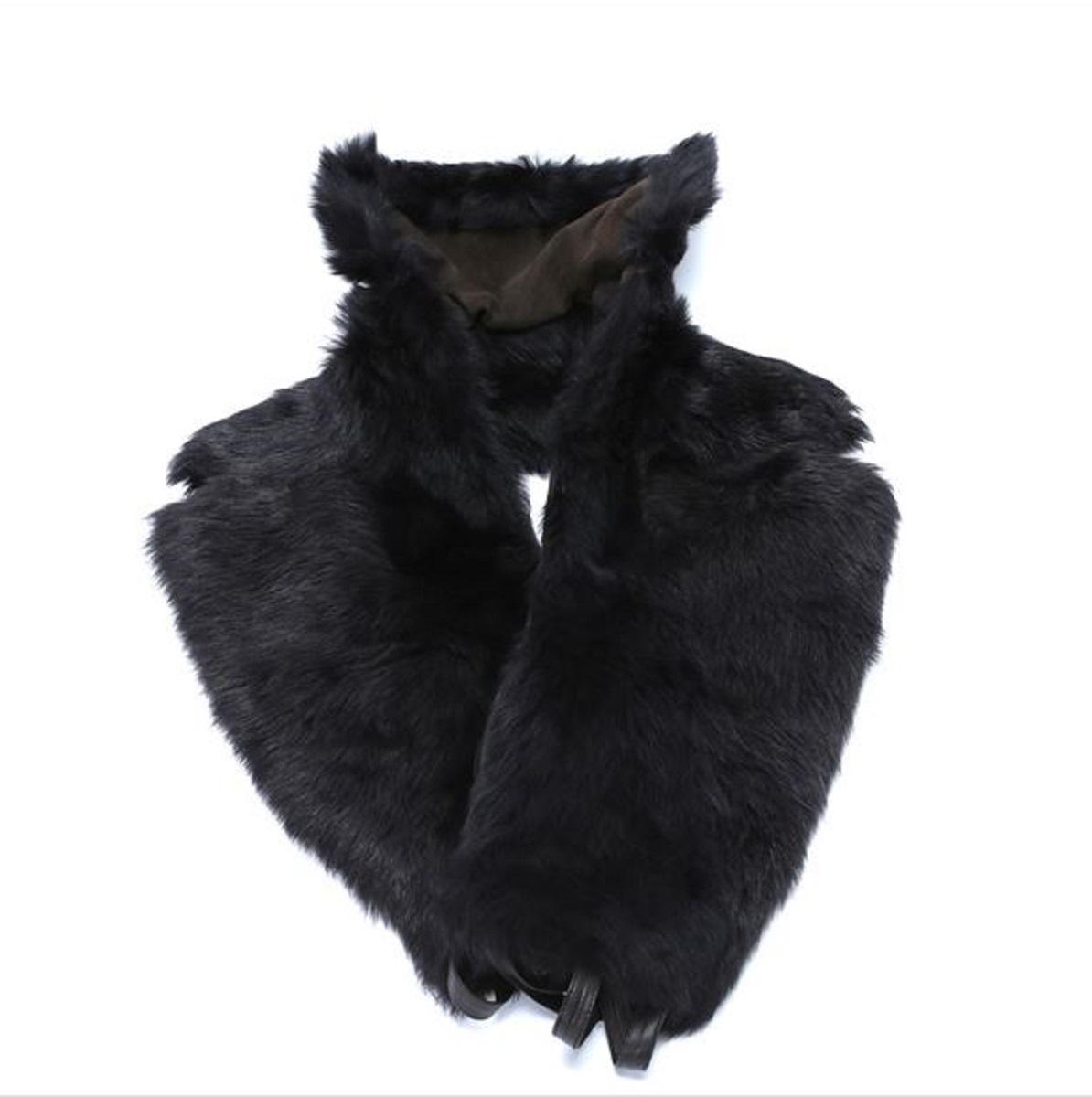 ロエベ LOEWE ストール ブラック×ブラウン フォックス×羊革 【トレジャースポット】【中古】