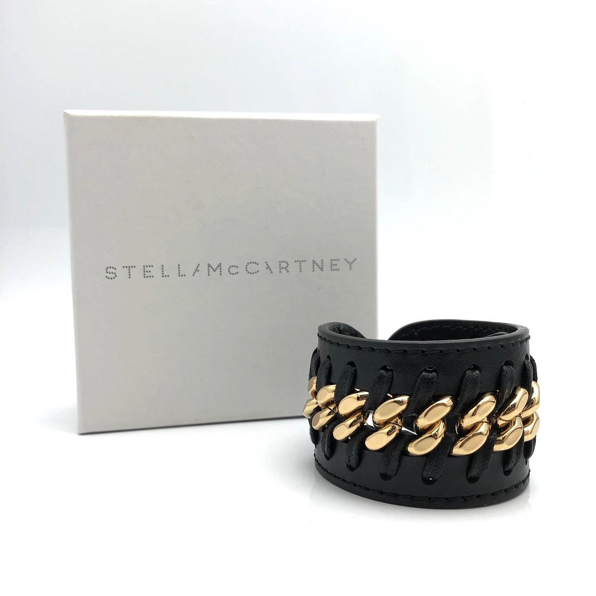 STELLA McCARTNEY ステラマッカートニー ブレスレット レザー ブラック×ゴールド 黒 Sサイズ 美品 【トレジャースポット】【中古】