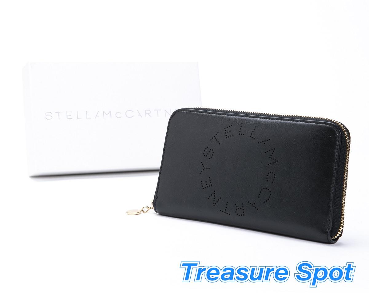 ステラマッカートニー Stella McCartney ラウンドファスナー長財布 合成皮革 ブラック×マスタード 新品同様品 【トレジャースポット】【中古】