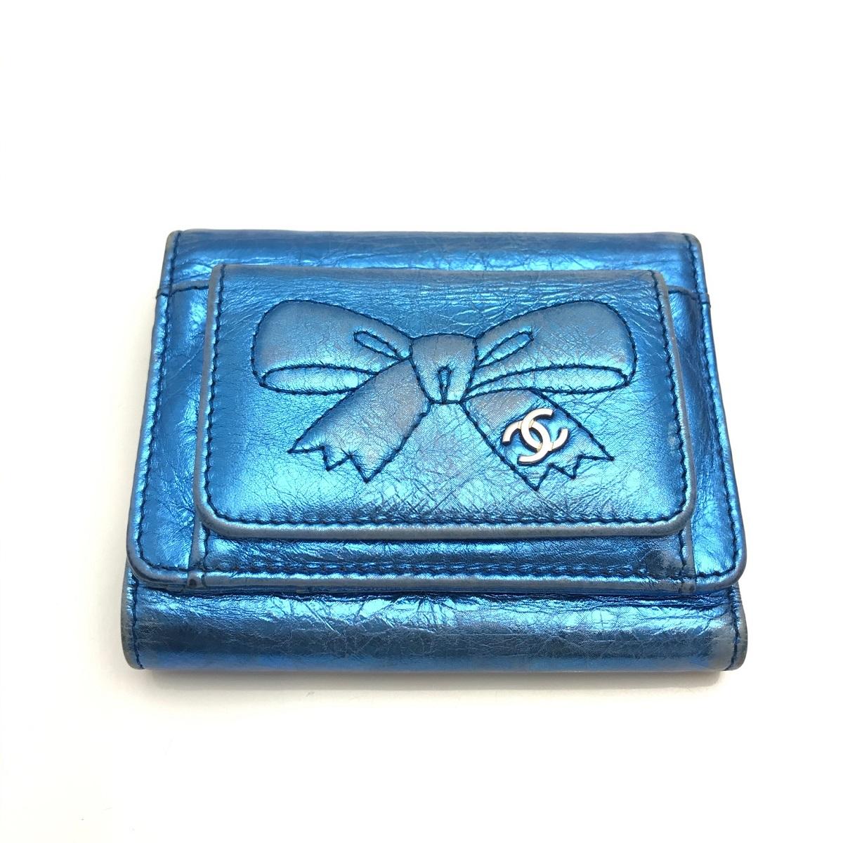 シャネル CHANEL 三つ折り財布 コンパクト レザー メタリックブルー 【トレジャースポット】【中古】