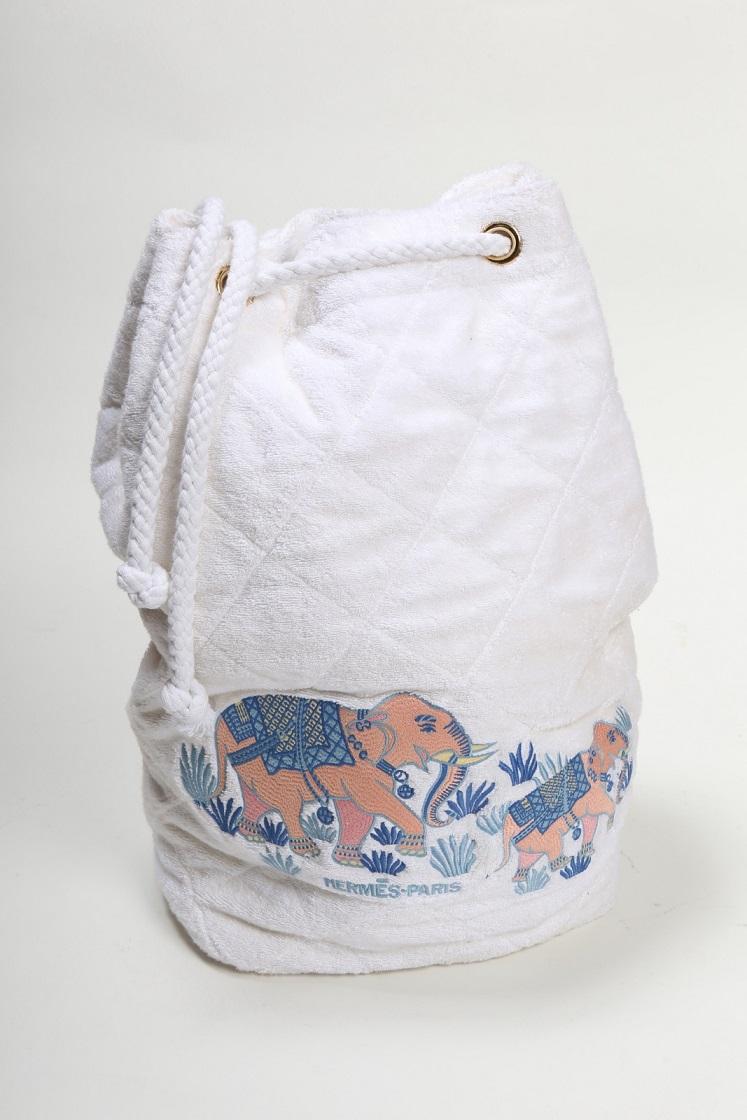 好きに エルメス HERMES タオル地 筒型リュック オフホワイト 象柄 【トレジャースポット】【】, きものあそび 571dee52