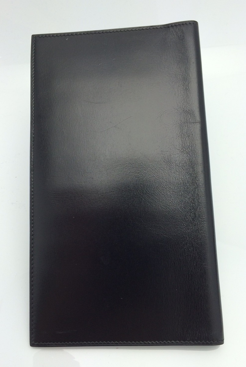 エルメス HERMES 手帳カバー カード入れ9枚 ボックスカーフ 黒【トレジャースポット】【中古】