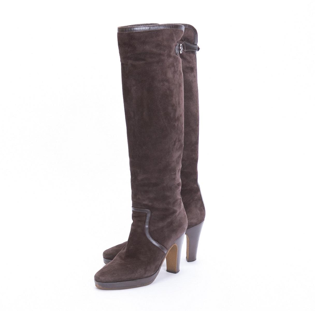 エルメス HERMES ロングブーツ 靴 バックスキン レザー ブラウン 茶 約23.5cm 【トレジャースポット】【中古】