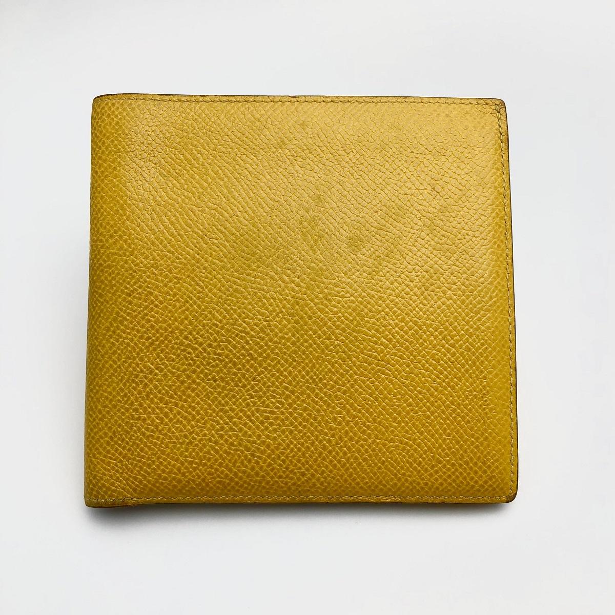 HERMES エルメス 二つ折財布 クシュベル イエロー 【トレジャースポット】【中古】