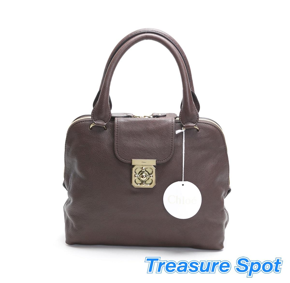 クロエ Chloé トートバッグ レザー ブラウン 茶色 チョコレート ハンドバッグ 【トレジャースポット】【中古】