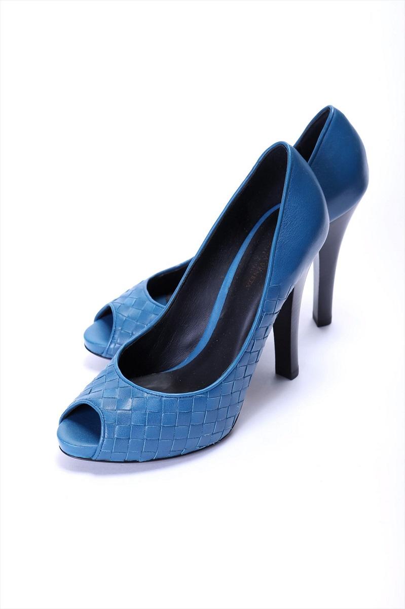ボッテガヴェネタ BOTTEGA VENETA オープントゥパンプス 靴 ブルー #37.5(23.5cm~24cm) 新品同様品【トレジャースポット】【中古】