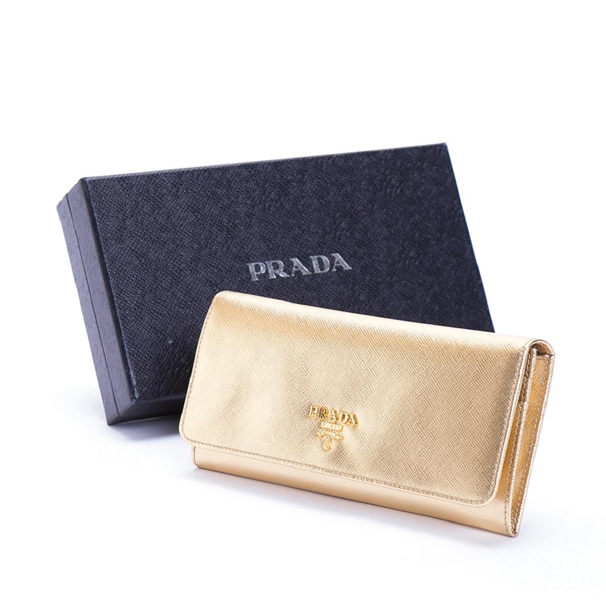 プラダ PRADA 長財布 二つ折り カード10枚 ゴールド レザー 未使用展示品 【トレジャースポット】【中古】