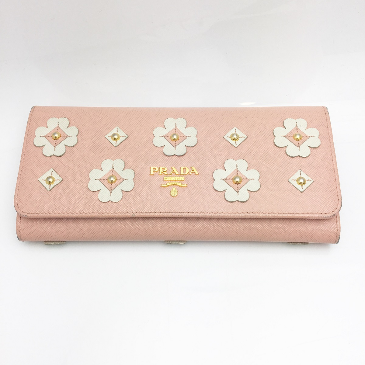 プラダ PRADA 長財布 二つ折り カード入れ ピンク×ホワイト レザー フラワーモチーフ 花柄 【トレジャースポット】【中古】