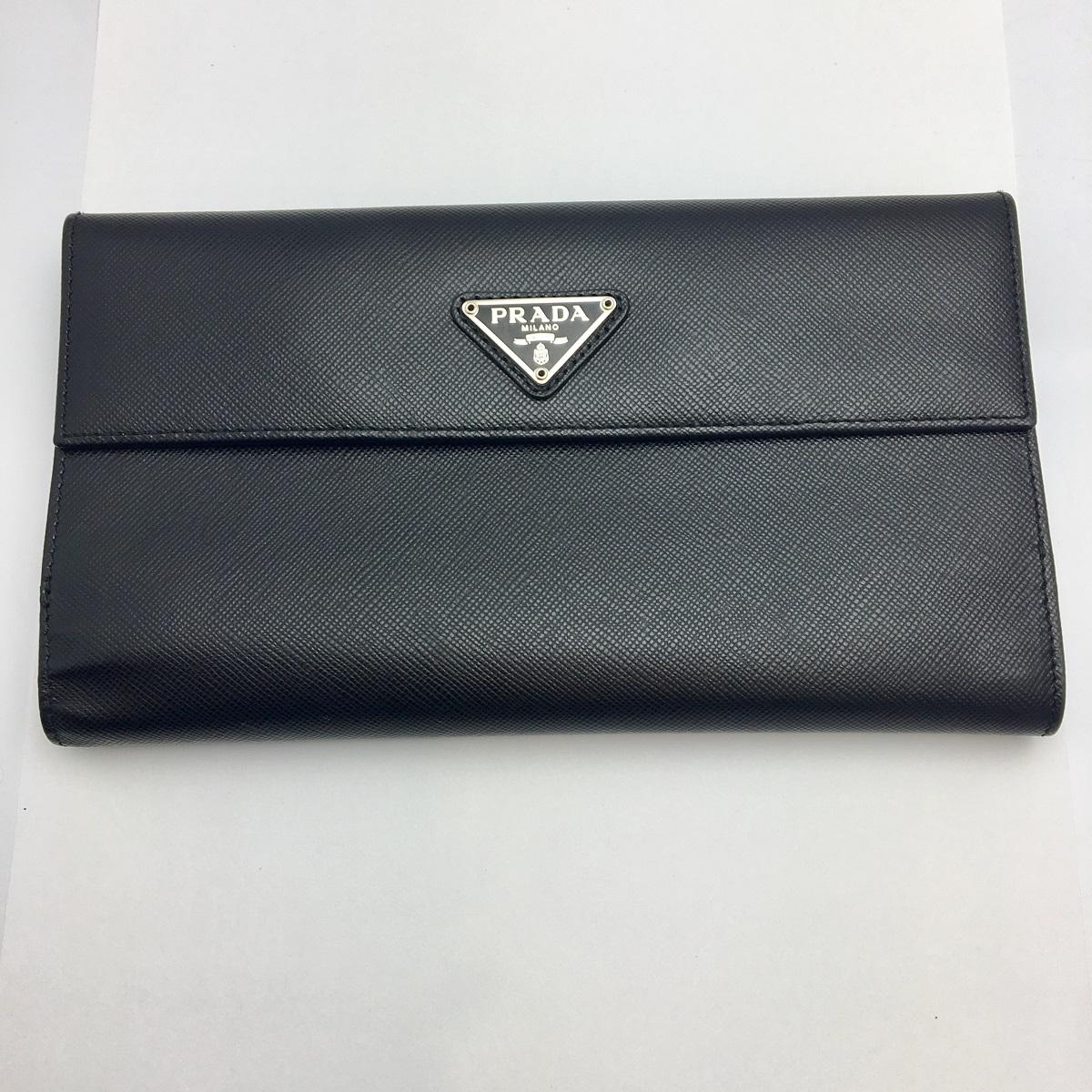 プラダ PRADA 長財布 二つ折り カード入れ ブラック レザー 【トレジャースポット】【中古】