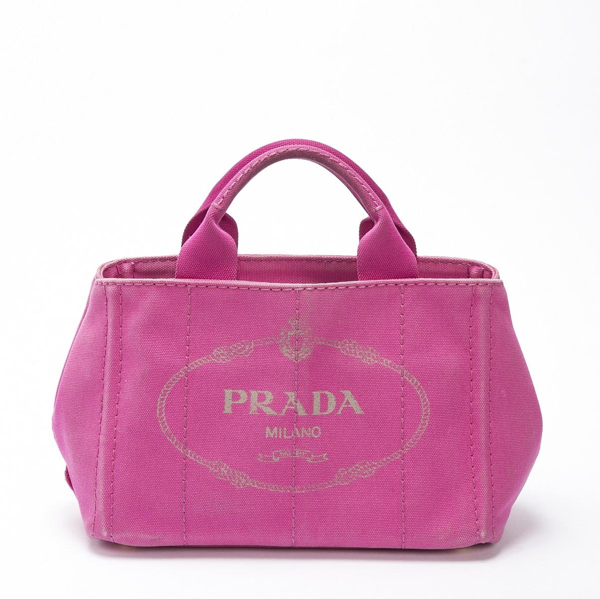 PRADA プラダ カナパ トートバッグ 2WAY ショルダーバッグ ハンドバッグ キャンバス ピンク 【トレジャースポット】【中古】