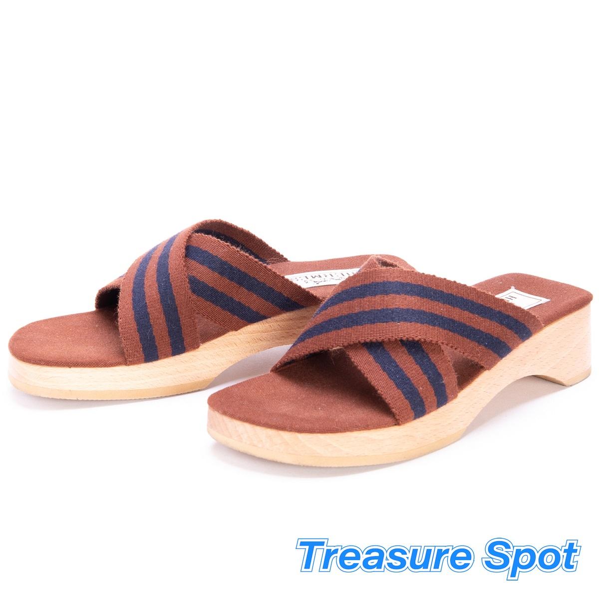 HERMES エルメス 靴 フールトゥーサンダル サイズ#36 ブラウン キャンバス×ウッド 新品同様品 【トレジャースポット】【中古】