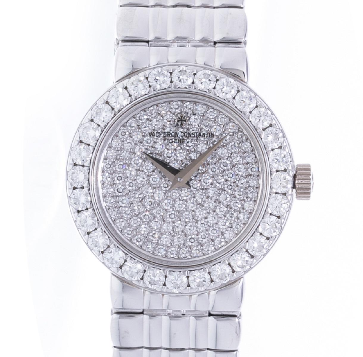 バシュロン コンスタンタン VACHERON CONSTANTIN ダイヤベゼル ダイヤ文字盤 WG ホワイトゴールド クォーツ QZ レディース 腕時計 送料無料 【トレジャースポット】【中古】