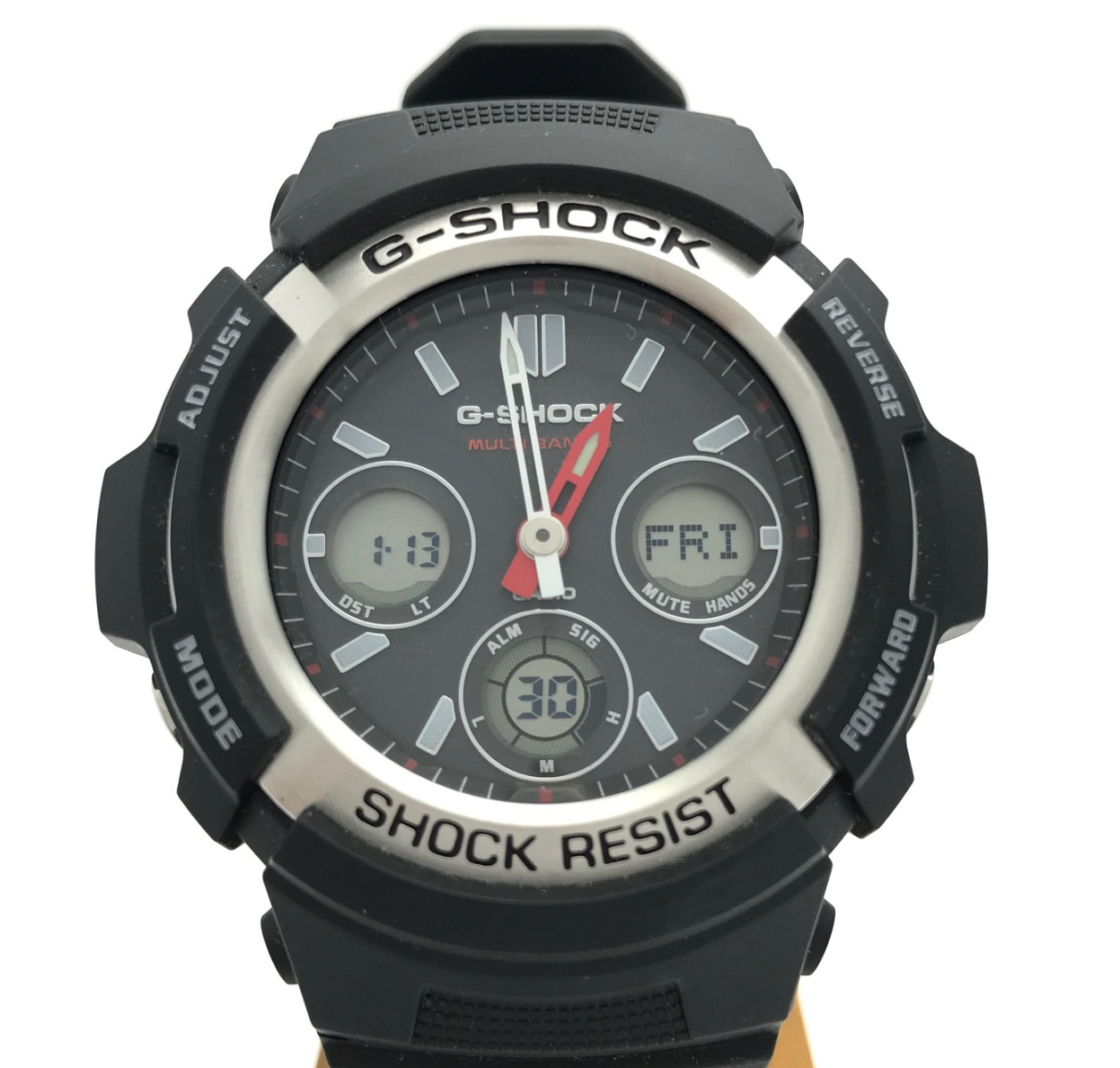 カシオ CASIO G-SHOCK AWG-M100JF マルチバンド6 メンズ ブラック×レッド ソーラー電波時計 腕時計 デジタル×アナログ ラバー 2012年式 未使用展示品 【トレジャースポット】【中古】